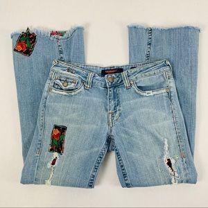 Vigoss distressed embellished flare jeans, sz 5/6